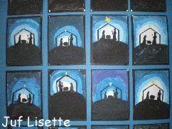 Kerst Stalletje in de nacht Benodigdheden: Verf (wit, blauw, zwart, paars), kwast, water, doekje, krant, stalletje, zwart en geel papier, schaar, lijm  Bedek de tafel met kranten en doe hier de verschillende kleuren verf op. Je kunt zo de verf mengen op de krant en de krant daarna oprollen en weggooien.  Begin de tekening in het midden. Schilder een witte cirkel. Meng dan wit met een tipje blauw. Schilder een lichtblauwe rand om de witte cirkel. Meng het blauw met wat wit. Schilder de…