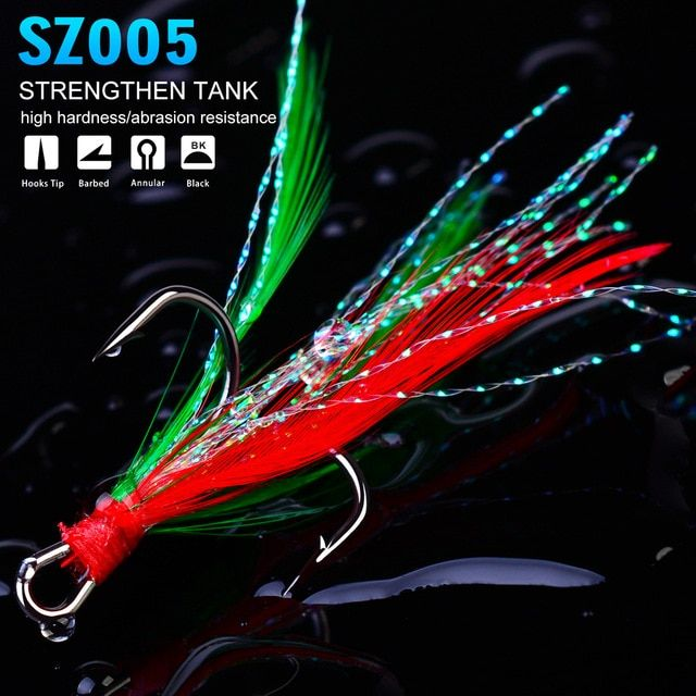Steel Tackle Barbed Feather Fishing Hooks with Line Two Hook Lures Crank Baits