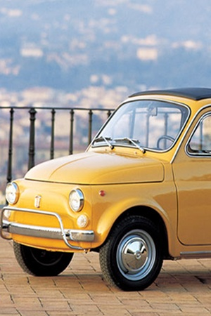 yellow fiat 500, cuty..