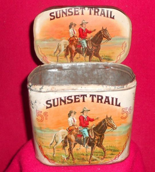 Rare c.1900 Sunset Trail cigar tin with a wonderful image of a cowboy and cowgirl riding at sunset. Made by the Roby Cigar Co. of Barnesville, Ohio. Many brands of small cheap cigars were sold in saloons and general stores out of tins like this for five cents or less from the 1870s until about 1910.