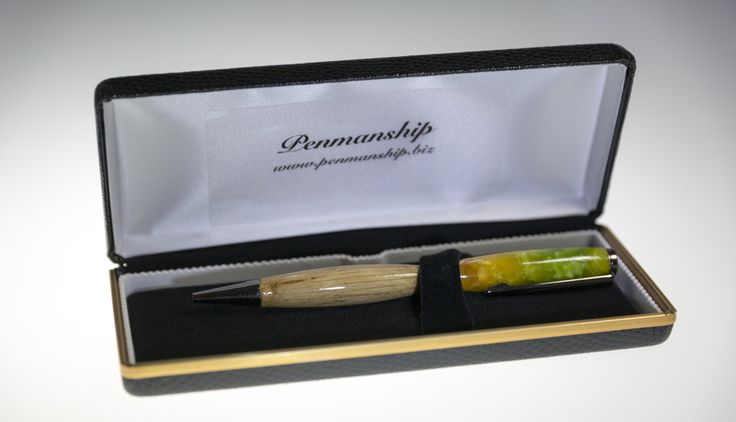 Handcrafted Broad Slimline twist  Pen in Green Crush Acrylic and Recycled timber finished of in Gunmetal. by PenmanshipAustralia on Etsy
