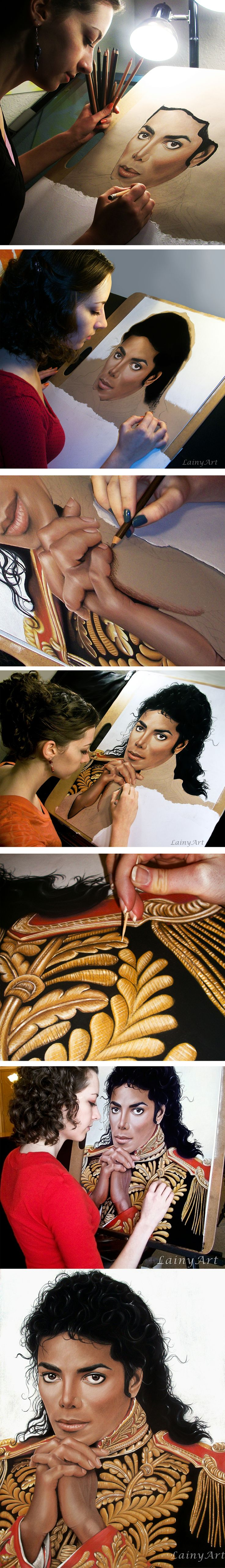 """pinner: """"The process of creating my biggest and most realistic portrait to date.   Michael Jackson drawn using pastel pencils and acrylic paint highlights applied with a toothpick. This took me about 200 hours to finish."""""""
