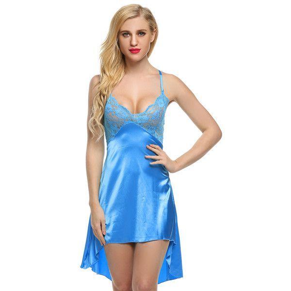 Sexy Satin Lace V-neck Night Dress 0a98ca7c9