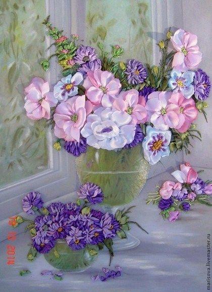 """Картина лентами """"Утро в пастельных тонах"""" - акварельный натюрморт,акварельная картина"""