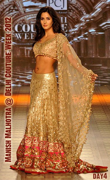 Katrina Kaif in @ManishMalhotra1 http://www.manishmalhotra.in/flash.html Exquisite Lehenga @ Delhi #Couture Week 2012