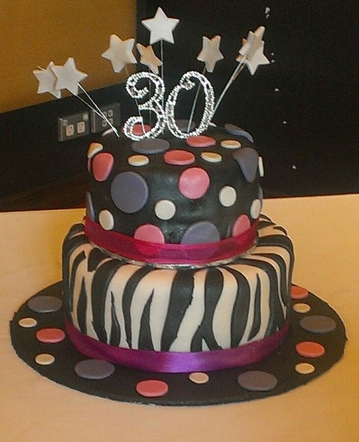 Pink, purple and black - our first 2 tiered cake! Love!!!