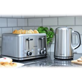 Tesco direct: Brabantia BQPK04 Breakfast Set Kettle with Digital Temperature Control and 4 Slice Toaster - Brushed Stainless Steel