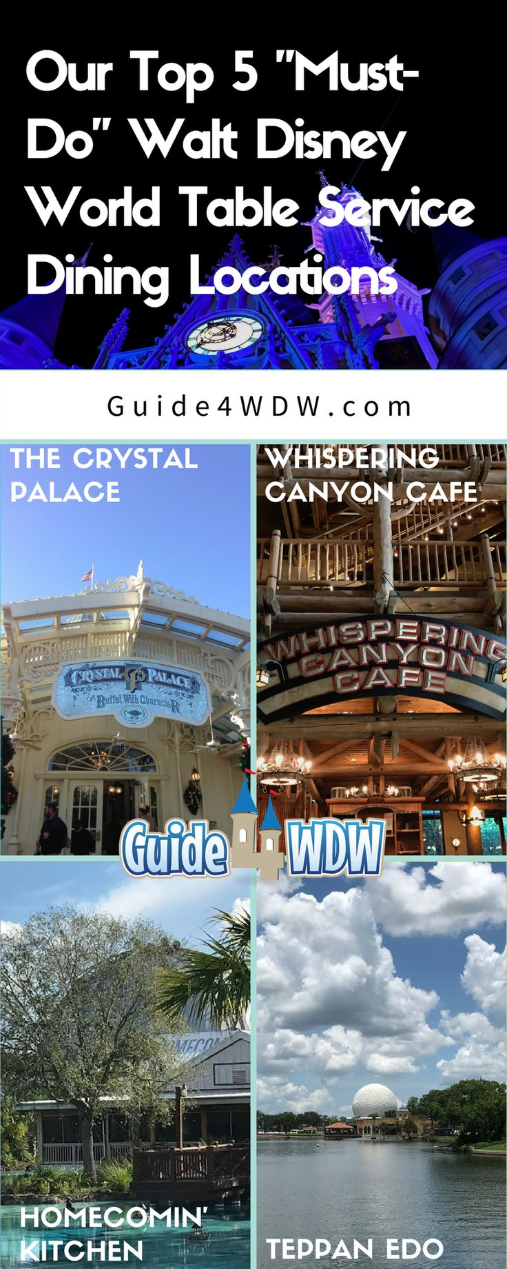 """Today, as we share one of our many Disney tips and tricks to dining at and around Walt Disney World, we're taking you through our top 5 (4 pictured) """"Must-Do"""" Disney table service restaurant offerings. Did your favorite make our list???"""