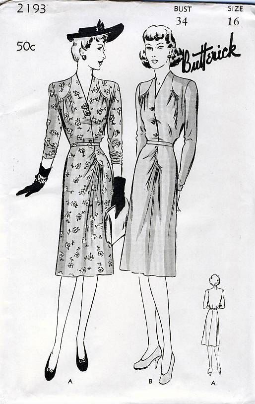 Butterick 2193 Vintage 40s Women's and Misses' by retrowithlana, $24.00