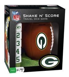 This NFL family shake n' score dice game features a football-shaped dice shaker, dice with team logo, and score sheets with team logo.. Made By Masterpieces Puzzle Company