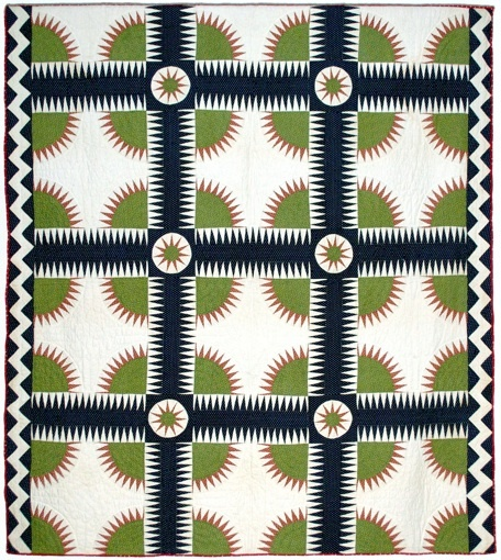 A New York Beauty quilt from the 1870s - the pattern at that time was known as Rocky Mountain Road or Crown of Thorns (NYB came about in 1930)