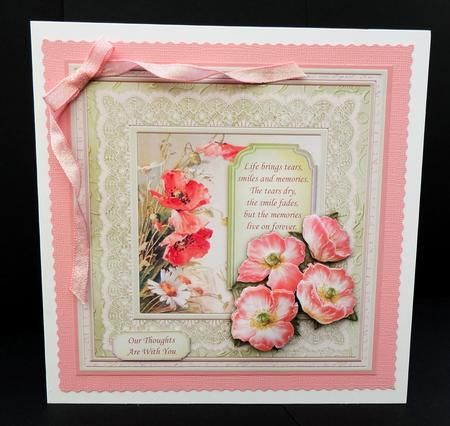 VINTAGE POPPIES DAISIES 6x6 Card Topper Decoupage on Craftsuprint designed by Janet Briggs - made by Bernie Mclaughlin