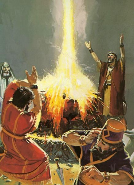 Elijah calls down fire from the heavens