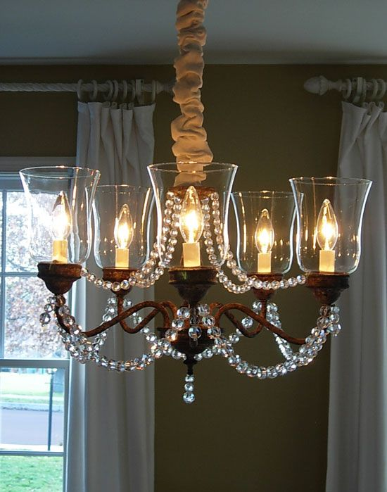 Check out how she wired the beads: Beads Chandeliers, Lights Fixtures Crystals, Chains Covers, Beads On Chandeliers, Chandeliers Makeovers Ideas, Rooms Lights, Dining Rooms Projects, Brass Chandeliers Makeovers, Beads Hmmmmm