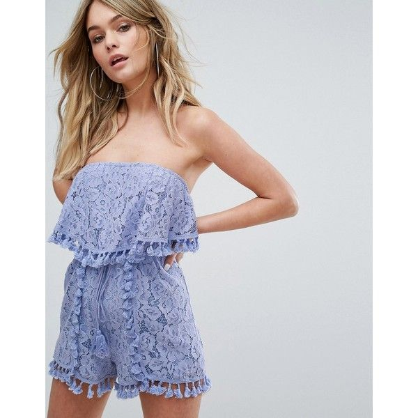Missguided Lace Bandeau Tassel Detail Playsuit (£46) ❤ liked on Polyvore featuring jumpsuits, rompers, purple, purple romper, lace romper, purple lace romper, lace rompers and tall romper