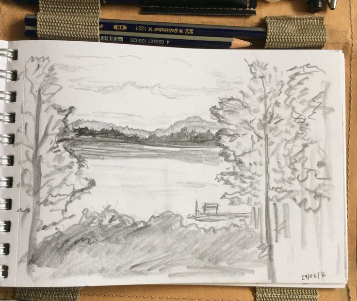 The look on the lake. Pencil 6b.