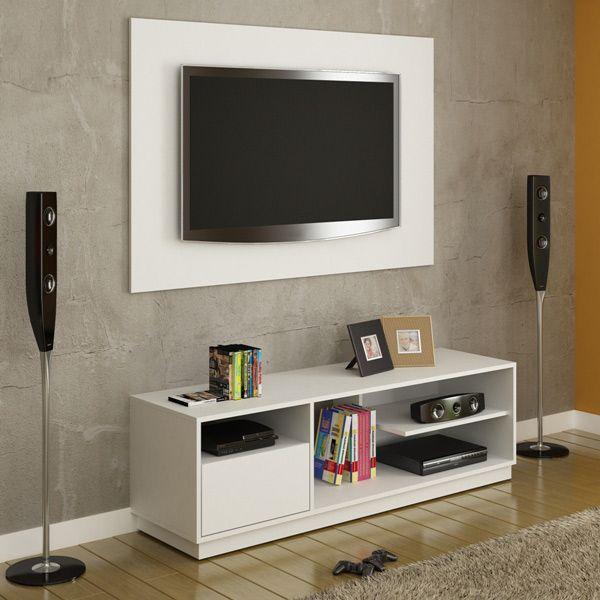 Rack TV 130 cm Madeira MDF Laqueada Branca + Painel - Dactylo