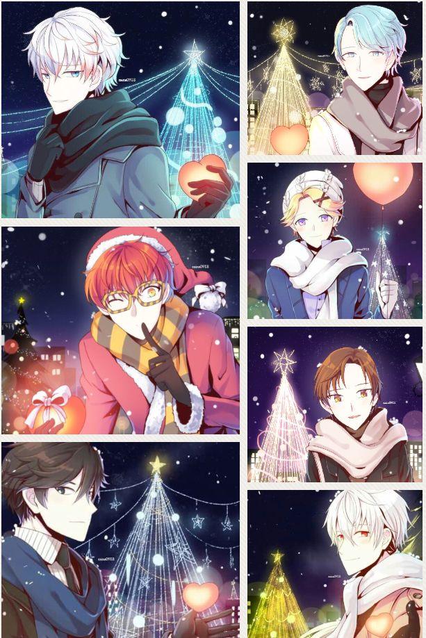 Mystic Messenger: Merry Christmas ^Character~Searon/Unknown , 707, Jumin, Yoosung, V, Jaehee, Zen^ Artists: raina0198