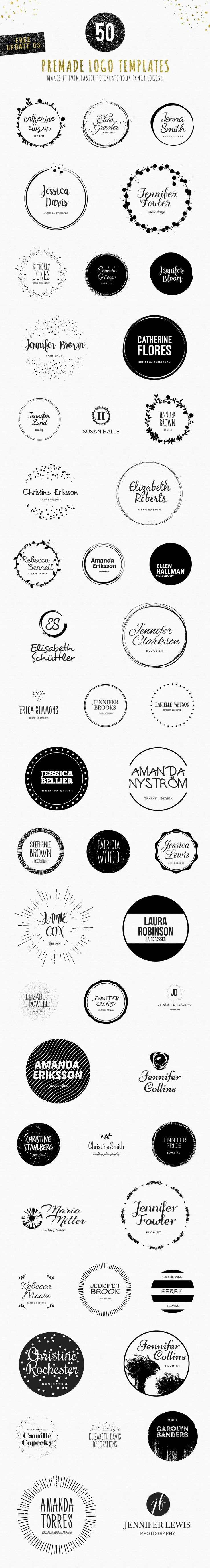 Feminine Logo Creator Circle Edition: 240 circle shaped decorative vector elements + 60 name based text combinations makes it total of 14,400+ possible logo variations! All shapes and fonts are made with the latest feminine trends in mind. Just choose your favorites, mix them up and add your own perfect textures to make a glamorous logos for yourself or your customers!