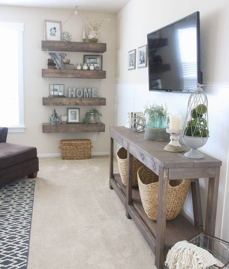 Weathered Wood TV Table and Shelves
