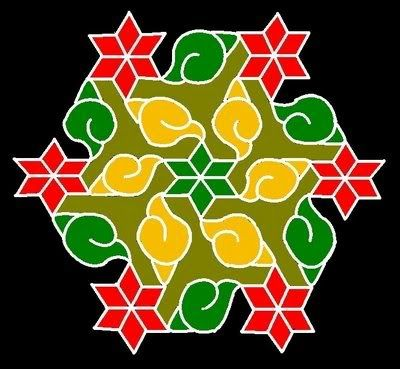 15 - 8 interlaced dots (Idukku Pulli) Kolam.   Start with 15 dots in the center and stop at 8 by putting interlaced dots at both sides as s...