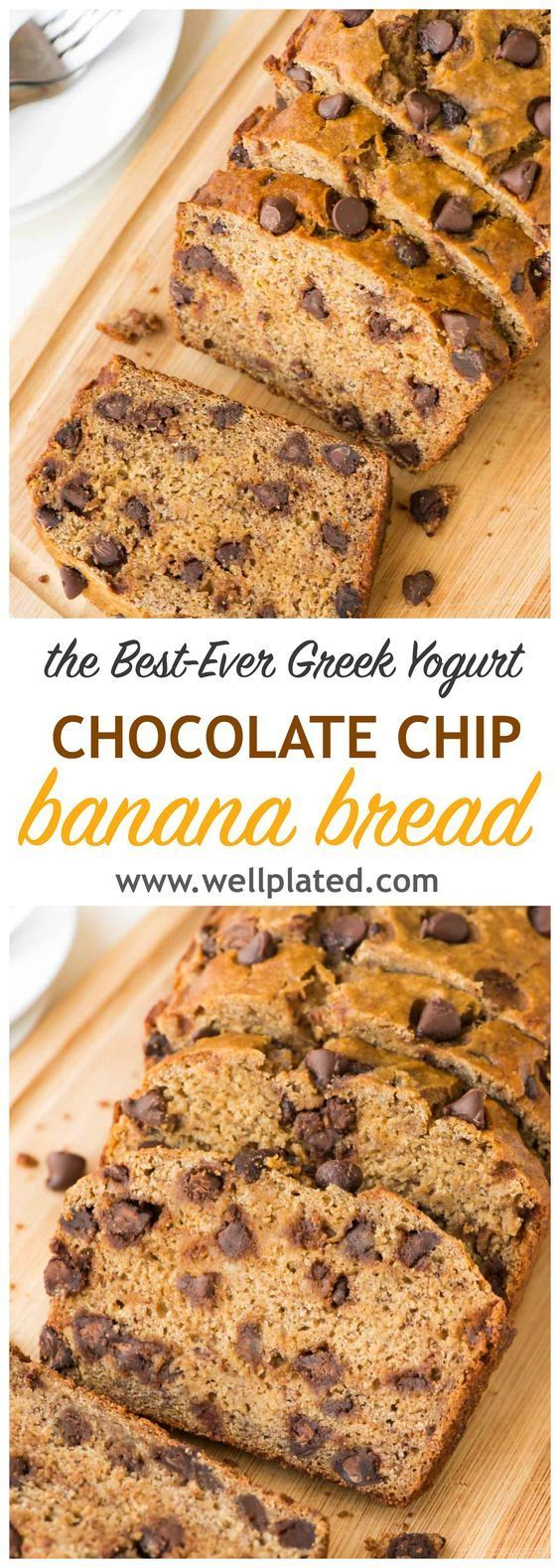 Fluffy, delicious healthy banana bread recipe made with Greek yogurt to keep it moist and chocolate chips for a little indulgence. EASY to make and SO GOOD. @wellplated http://www.wellplated.com