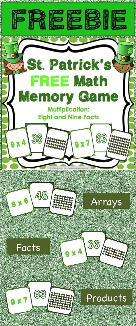 St. Patrick's Day FREE math game makes practicing eight and nine multiplication facts fun! Included are 45 memory cards for students to match the multiplication array, multiplication fact, and product. This is a perfect activity for small groups and centers in March!