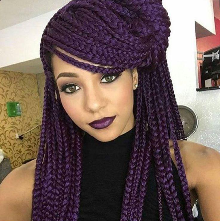 Astounding 1000 Ideas About Purple Box Braids On Pinterest Box Braids Short Hairstyles For Black Women Fulllsitofus