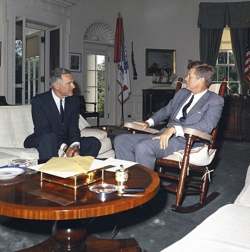 President Kennedy meets with Henry Cabot Lodge, United States Ambassador to South Vietnam. White House, Oval Office ~ 15 August 1963