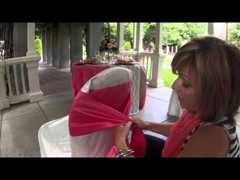 www.gardennearthegreen.com How to: various ways to tie an organza sash to a chair cover - YouTube.... obi