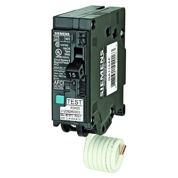 Siemens Qa115af 15 Amp Single Pole 120 Volt Plug On Type Branch Feeder Style Afci Breaker Review Siemens Breakers Circuit