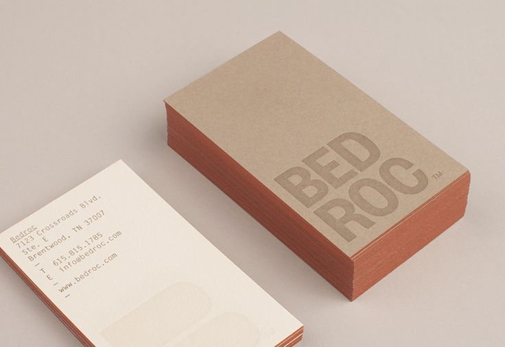 Logo and edge painted business card for technological consultancy firm Bed Roc designed by Perky Bros