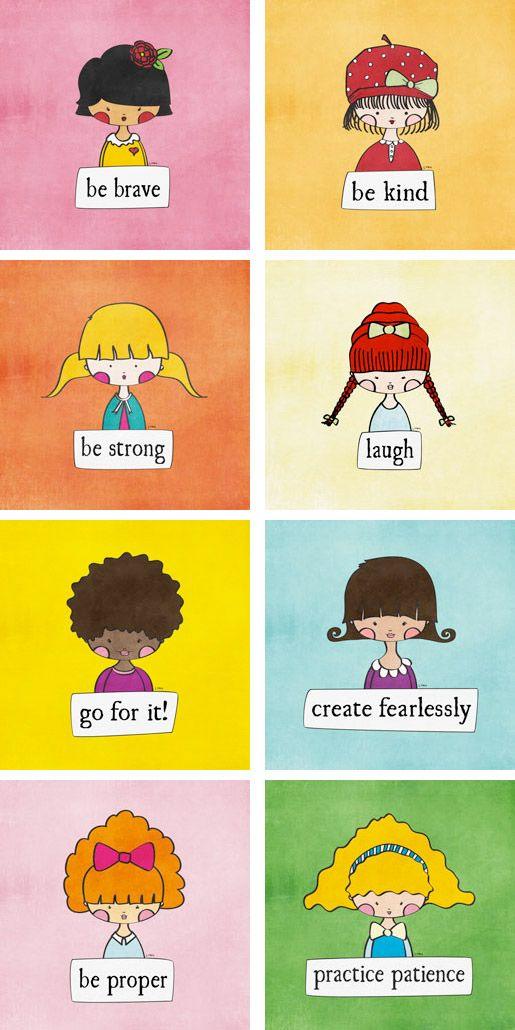 """Great for your little girl's room: """"Girls With a Message"""" series of art prints by artist Linda Tieu."""