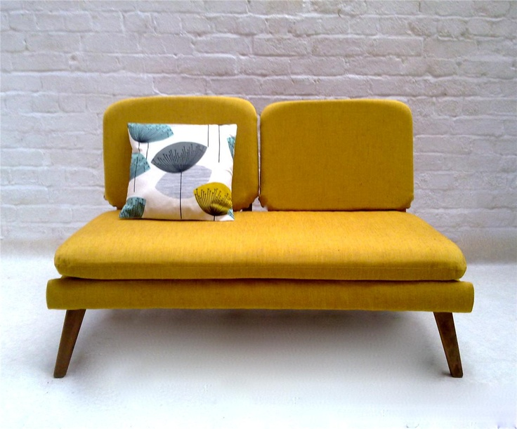 Mustard yellow mid-century mod couch + cushion | Furniture ...