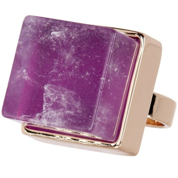 METAL AND STONE Square Purple Crystal Detail Ring - Size 9 ($13) ❤ liked on Polyvore featuring jewelry, rings, no color, stone jewellery, metal jewelry, metal rings, purple stone rings and stone ring
