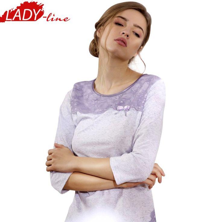 Poze Pijama Dama Maneca Trei Sferturi, Model Elegant Lace, Brand Cana Nouvelle, Material Bumbac 100%, Culoare Gri, Pijamale Dama Calitate Superioara