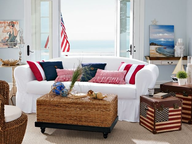 gotta have these red white blue chests for the living room living room red white blue. Black Bedroom Furniture Sets. Home Design Ideas