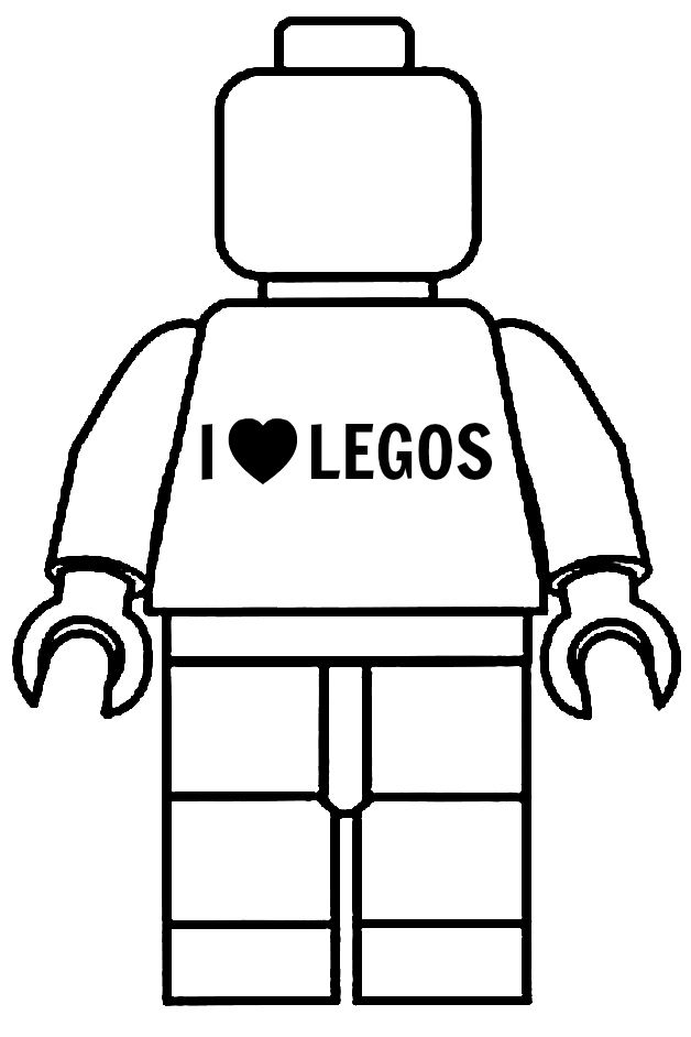 "Customized this minifigure with an ""I Love Legos"" t-shirt. Original template from http://www.sweetbenannasam.com/2012/10/23/free-printable-blank-lego-minifigure"