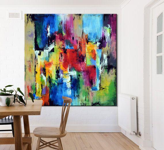 ExtraLarge toile Art fait à la main, peinture, peinture, décor de Yello, sticker orange bleu vert, couteau à palette peinture acrylique