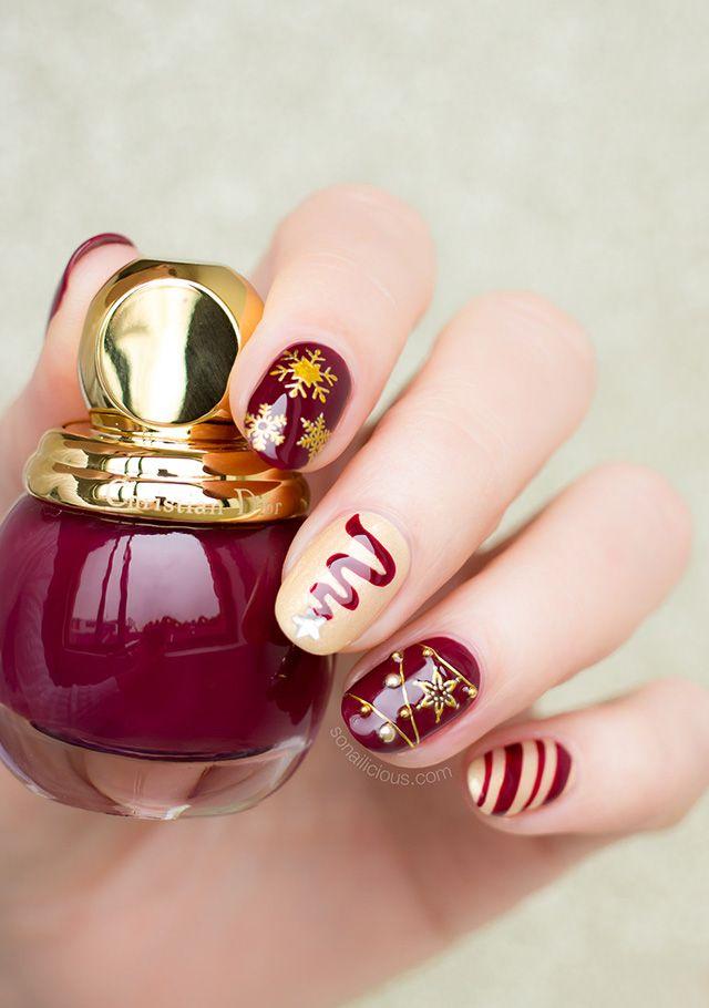 Gold And Red Christmas Nails Red Christmas Nails Christmas Nail Designs Burgundy Nails