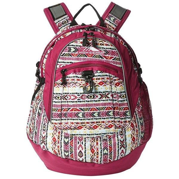 High Sierra Fat Boy Backpack (Macrame/Razzmatazz/Black) Backpack Bags ($30) ❤ liked on Polyvore featuring bags, backpacks, shoulder strap backpack, crochet bags, high sierra bags, mesh bag and high sierra rucksack