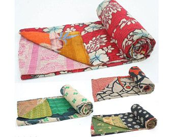 5 Pc Lot Of Reversible Cotton Sari Kantha Quilt Vintage Kantha Beach Throw Hand Stitched Bedspread Twin Size Bed Cover Indian Kantha Blanket