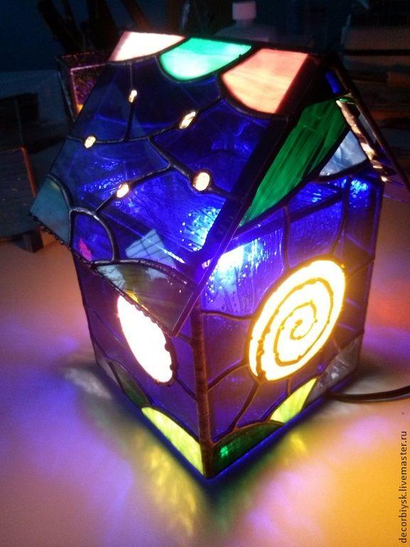 """Купить светильник """"Лунный домик"""" - темно-синий, светильник ручной работы, тиффани"""