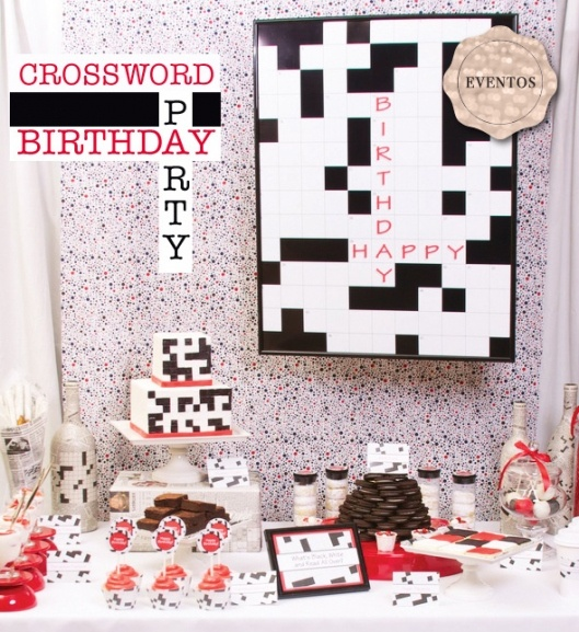 crossword party theme - could use for a game night theme too.
