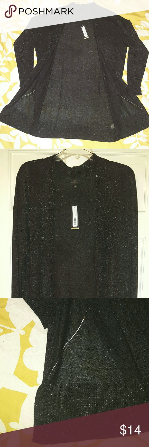 Long Cardigan Sweater w/Metallic Sparkles Long Black Cardigan Sweater w/Metallic Sparkles Size  -  Large Length (from shoulder to hem)  -  35 inches Long Sleeves NWT  -  No Flaws Worthington Sweaters Cardigans