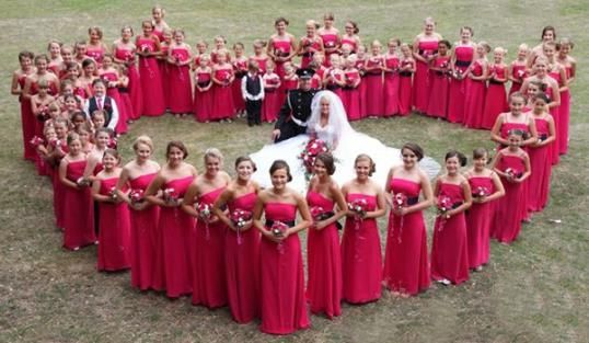 How many bridesmaids are too many? Probably 80, right?