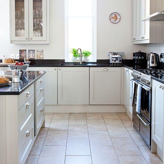 Kitchen Tiles Black Worktop neutral kitchen with black worktop | gray kitchens, neutral