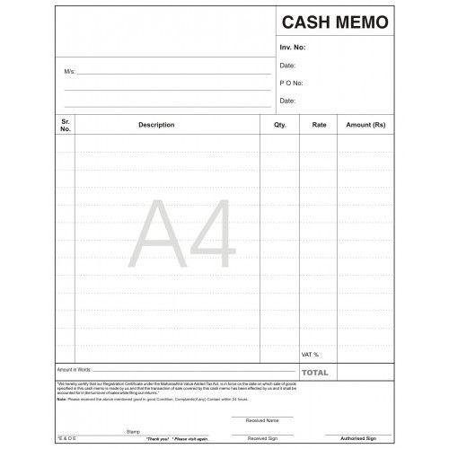 image result for cash memo