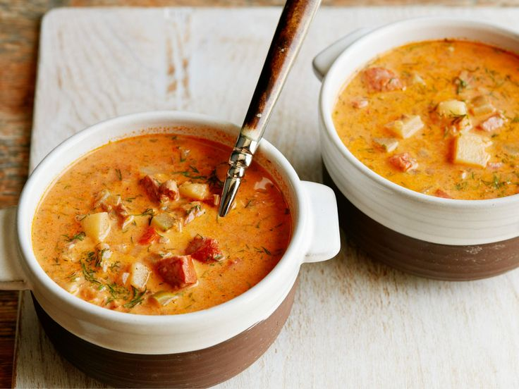 Hangover Soup - Loaded with bacon, sausage, chopped pork loin and veggies, this warming soup has restorative qualities we think you'll appreciate. http://www.foodnetwork.com/recipes/hangover-soup-recipe.html