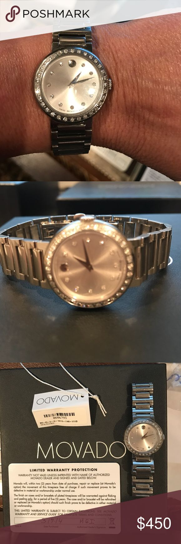 Movado Ladies Concerto diamond watch - 0606793 Bought in 2014 watch is in excellent condition.  Taken very good care of.  New watch sold for $1995. Watch comes with box and warranty card however warranty expired in 2016.  I have not had any service performed at all on the watch and it is working great!  Watch is 26 mm stainless steel bracelet water resistant to 100ft very pretty on and a really good deal! Movado Accessories Watches